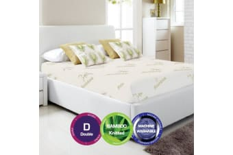Bamboo Print Fully Fitted Mattress Protector -Double