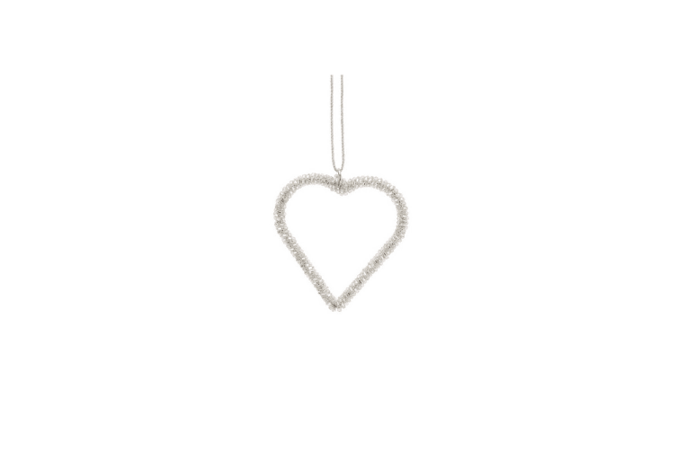CGB Giftware Christmas Small Glitter Crystal Heart Hanging Decoration (Silver) (Prod: H: 8cm W: 8cm D: 0.5cm)