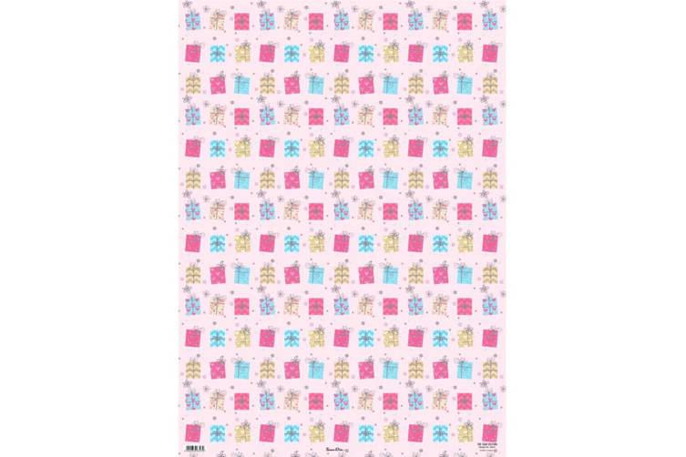 Simon Elvin Presents And Flowers Gift Wraps (24 Sheets) (Pink/Turquoise/Gold) (70 x 50cm)
