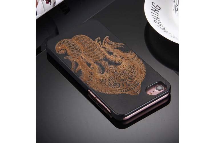 For iPhone 8 7 Case Artistic Ganesha on Black Bamboo Wood Protective Cover