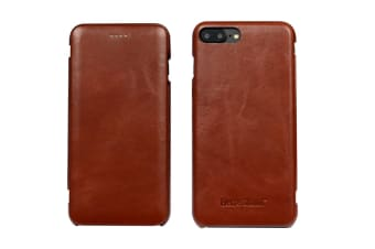 For iPhone 8 PLUS 7 PLUS Case Fierre Shann Genuine Leather Flip Cover Brown