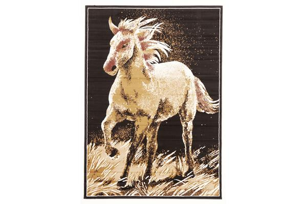 Awesome Horse Design Rug Beige Black 230x160cm
