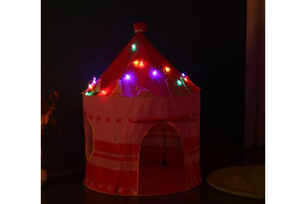 Kids Castle Play Tent with LED Star String Light PINK
