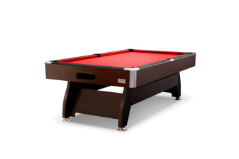8FT MDF Pool Table Snooker Billiard Table with Accessories Pack, Walnut Frame with Red Felt