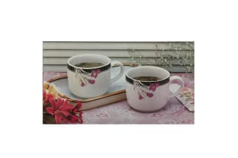 3pc Porcelain Mugs for Hot/Cold Soups/Coffee/Tea/Water Drink Cup w/ Tray White