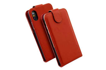 For iPhone XS X Case iCoverLover Vertical Flip Genuine Leather Cover Russet