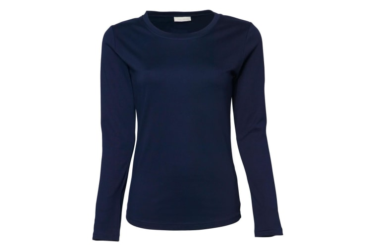 Tee Jays Womens/Ladies Interlock Long Sleeve T-Shirt (Navy Blue) (M)