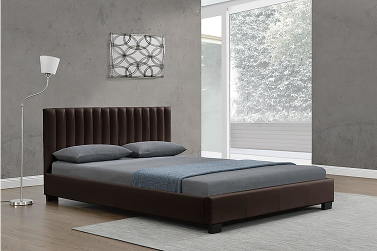183X203CM King Size Fabric Saba Bed Frame   Brown