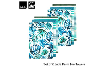 Set of 6 Jade Palm Kitchen Kitchen / Cleaning 100% Cotton Tea Towels by Ladelle