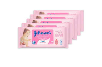 5x 56PK Johnson's Infant/Baby Wipes Gentle Skin f/Nappy Changing/Facial Cleaning