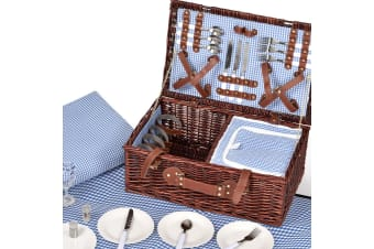 Deluxe 2/4 Person Picnic Basket Baskets Set Outdoor Corporate Blanket Park Trip  -  C