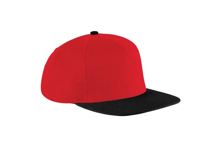 Beechfield Unisex Original Flat Peak Snapback Cap (Pack of 2) (Classic Red/Black) (One Size)