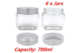 6 x 700ML Square Canister Jar Silver Screw Top Lid Jar Airtight Food Storage