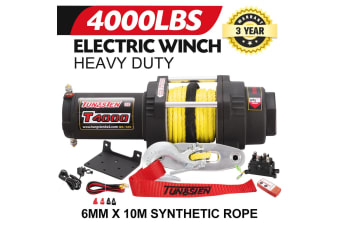 ATEM POWER Electric Winch Wireless Synthetic Rope Remote 12V 4000LBS ATV 4WD BOAT