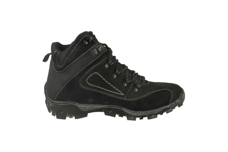 Mens Lace Up Walking Boots (Black) (9 UK)