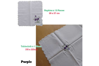 Embroidered White Table Cloth + 12 Matching Napkins Purple
