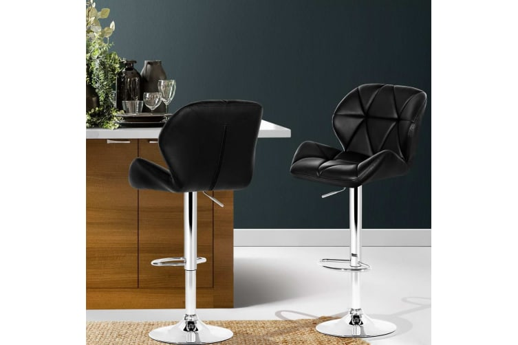 Peachy Artiss 2 X Kitchen Bar Stools Swivel Bar Stool Leather Gas Lift Chairs Black Gamerscity Chair Design For Home Gamerscityorg
