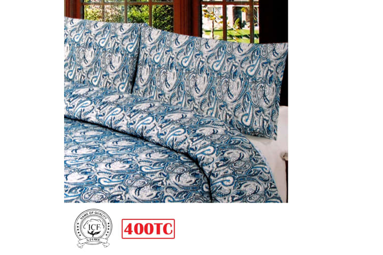 400TC Paisley Ink Blue Quilt Cover Set King