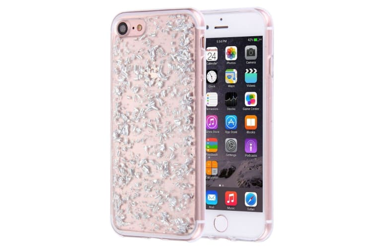 For iPhone 8 7 Case Elegant Scatter Platinum Crystals Protective Cover Silver