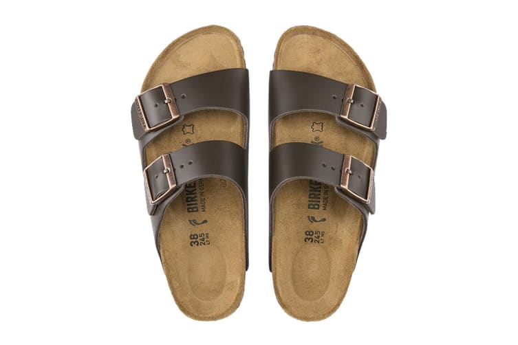 Birkenstock Arizona Natural Leather Sandal (Dark Brown, Size 40 EU)