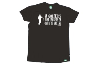 Out Of Bounds Golf Tee - A Golfers Diet Consists Greens - (XX-Large Black Mens T Shirt)