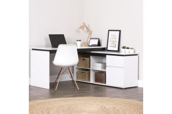 High Gloss Storage corner Desk Home Office Computer Table Cabinet Study White