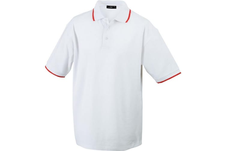 James and Nicholson Unisex Tipping Polo (White/Red) (XL)
