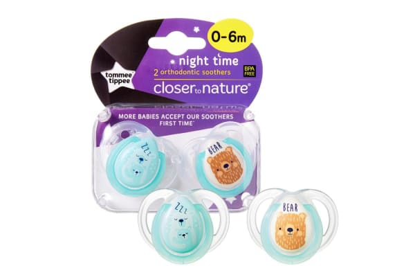 Tommee Tippee Night Soother 2 Pack - Boy - 0 to 6 Months