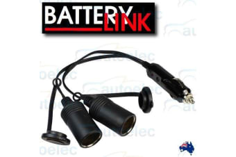 BATTERY LINK 12V DOUBLE ADAPTER DUAL CIGARETTE LEAD EXTENSION CORD PLUG DS520