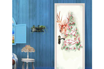 3D Christmas Xmas Tree 2 Door Mural Self-adhesive Vinyl