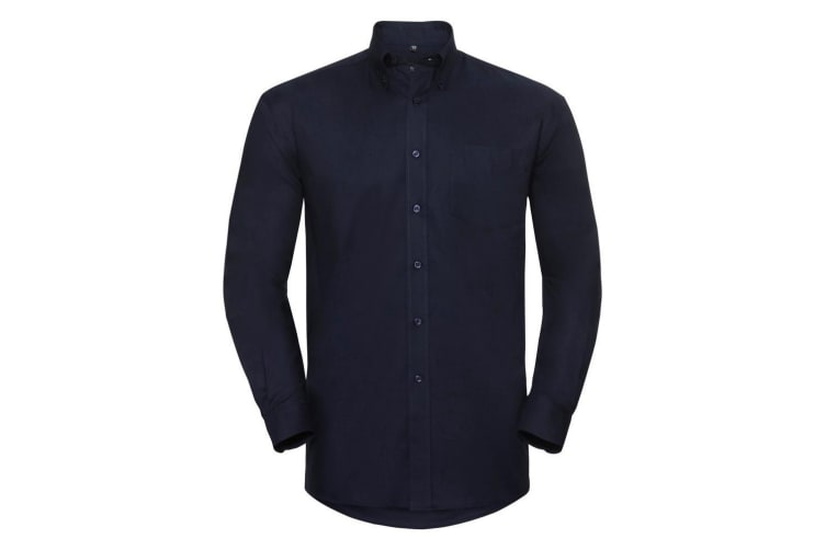 Russell Collection Mens Long Sleeve Easy Care Oxford Shirt (Bright Navy) (21inch)