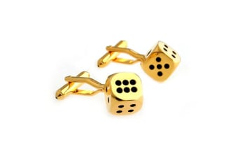 SD Man Dice Men's Cloth/Shirt Wedding/Party Cufflinks Fashion Accessories Gold