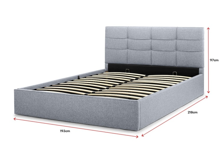 Ovela Bed Frame - Tenby Gas Lift Collection (Pewter Grey, King)