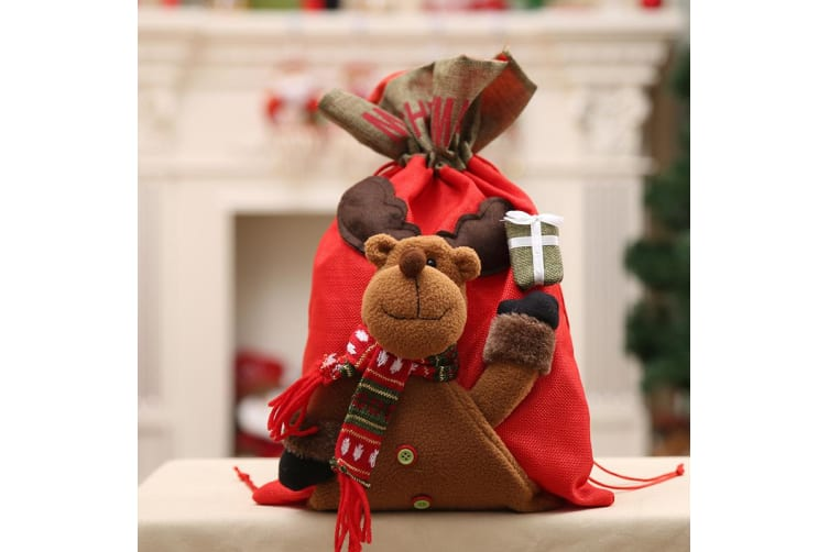 New Christmas Large Jumbo Felt Santa Sack Children Xmas Gifts Candy Stocking Bag - Reindeer (56x35cm)