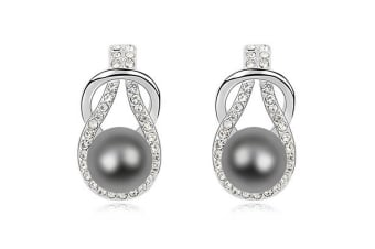Pearl Drop Earrings Tahitian Embellished with Swarovski Crystal Pearls