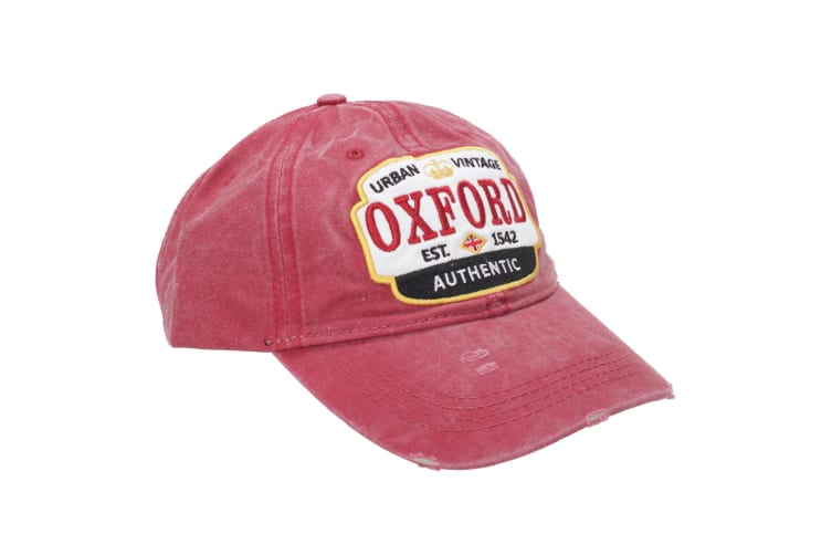 Oxford Unisex Adults Distressed Baseball Cap (Maroon) (One Size)