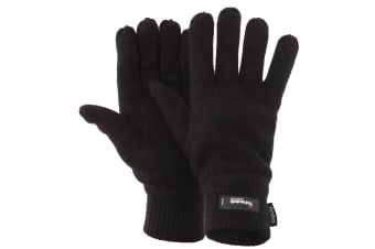 FLOSO Mens Thermal Thinsulate Knitted Winter Gloves (3M 40g) (Black)
