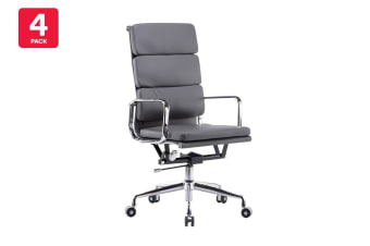 4 Pack Ergolux Executive Eames Replica High Back Padded Office Chair (Grey)
