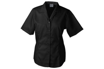 James and Nicholson Womens/Ladies Short Sleeve Business Blouse (Black) (XS)