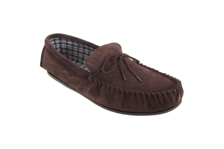 Mokkers Mens Bruce Real Suede Moccasin Slippers (Dark Brown) (11 UK)