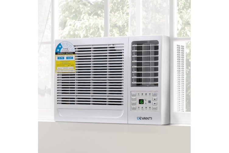 Devanti 2.7kW Window/Wall Air Conditioner w/o Reverse Cycle Portable Air Conditioner Cooler Cooling Only 3 Speeds Swing Timer Mode Home Office