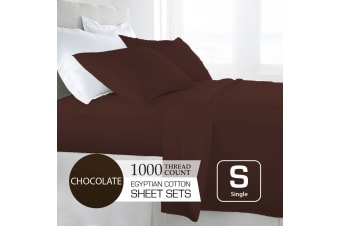 Single Size Chocolate 1000TC Egyptian Cotton Sheet Set