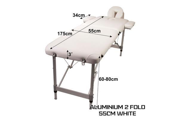 Aluminium Portable Massage Table 55cm - WHITE