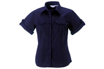 Russell Collection Womens/Ladies Short / Roll-Sleeve Work Shirt (French Navy) (S)