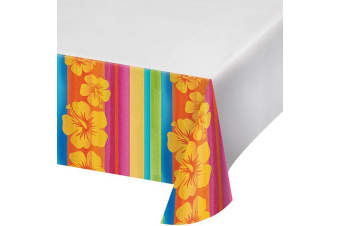 Creative Converting 108in Aloha Summer Printed Plastic Tablecover (White/Multicoloured)