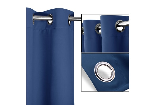 Set of 2 240CM Blockout Eyelet Curtain (Navy)