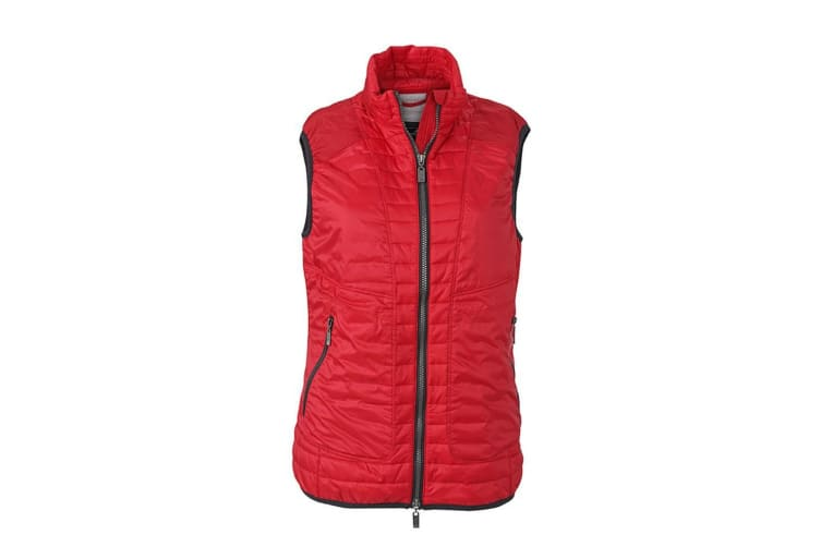 James and Nicholson Womens/Ladies Lightweight Vest (Indian Red/Silver) (XXL)