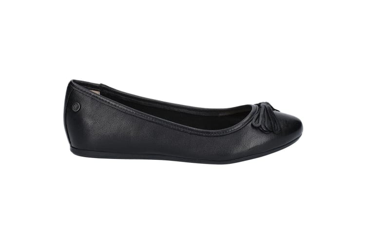 Hush Puppies Womens/Ladies Heather Bow Leather Ballet Shoes (Black) (4 UK)