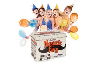 Moustache Party Pack – Set Of 10 Dress Up Costume Stick On Mustache Hairy Movember Funny Friends