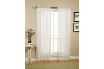 Pair of Crushed Sheer Curtains WHITE